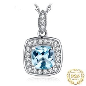 Jewelry - Cushion Cut Sky Blue Topaz Sterling Silver Halo